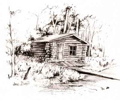Janis gilcee prints note cards Cabin drawings
